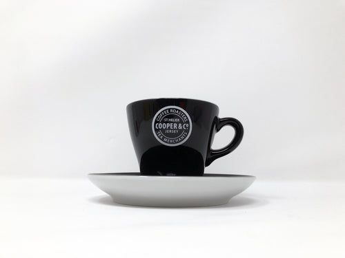 Black Cooper & Co. Branded Cup with Saucer
