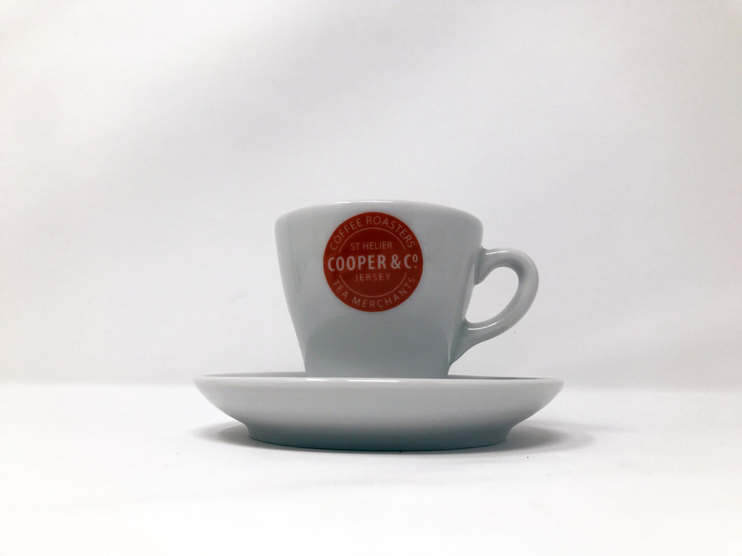 White Cooper & Co. Branded Cup with Saucer
