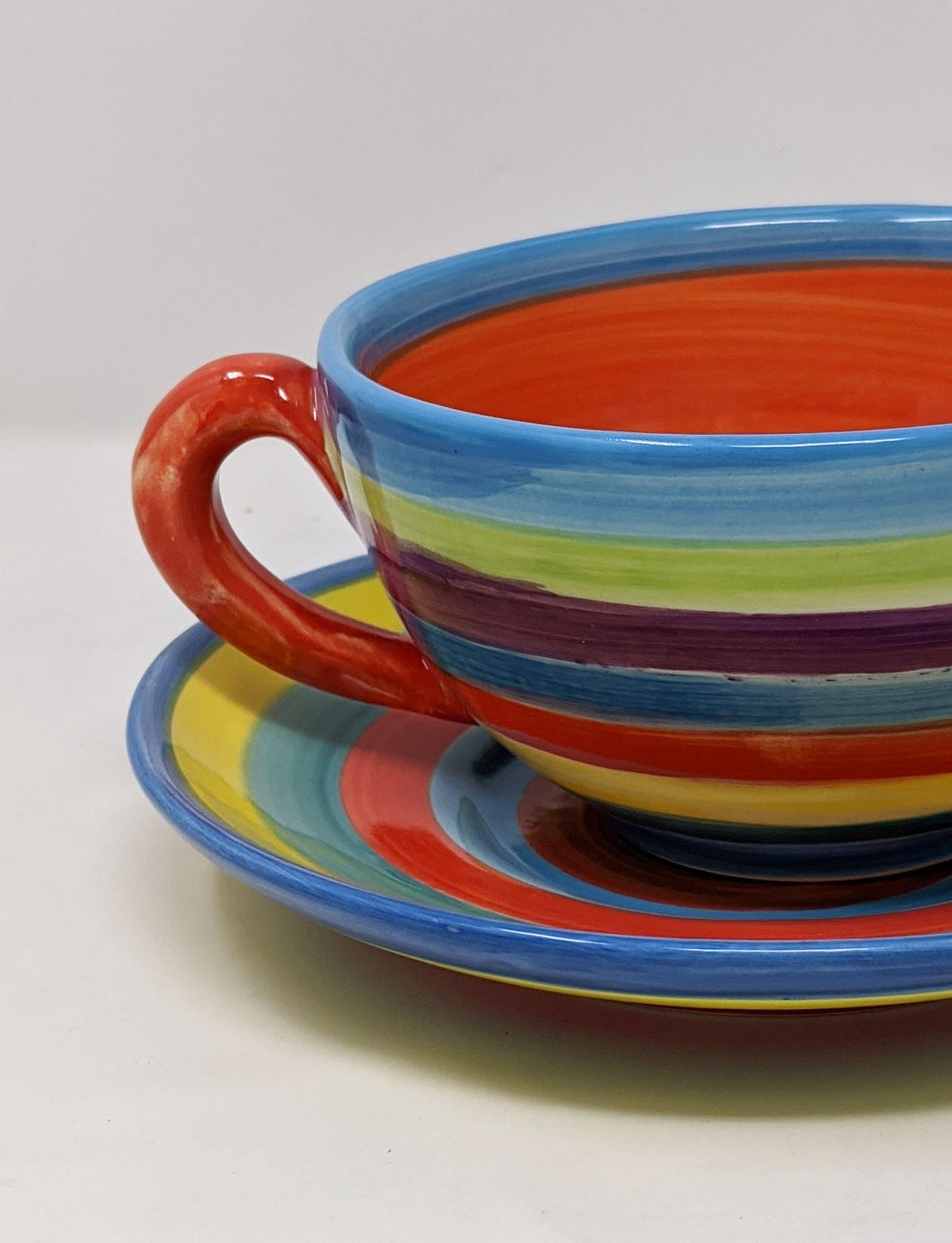 Reckless Large Candy Stripe Breakfast Mug and Saucer