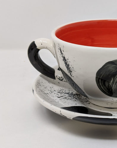 Reckless Large Spot Breakfast Mug and Saucer