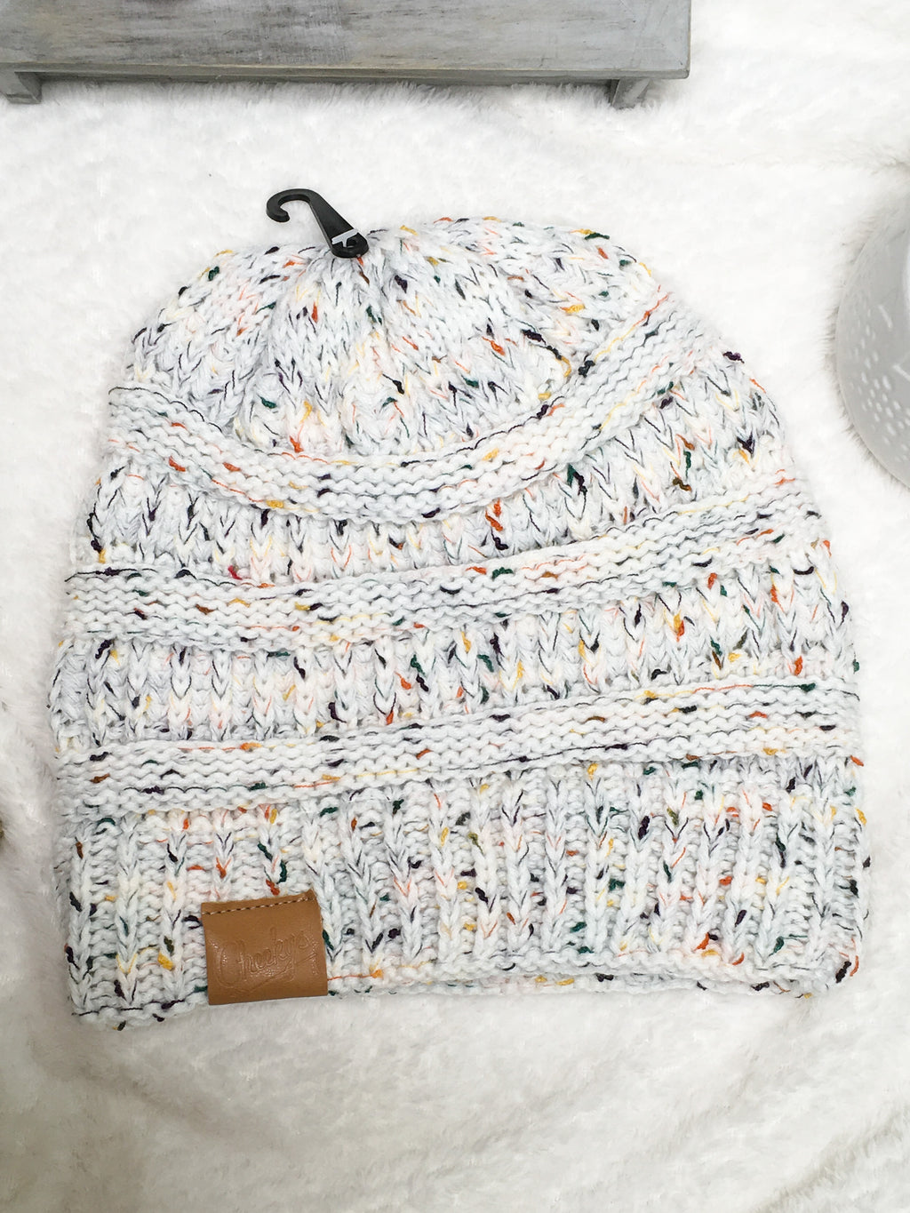 Grey Cable Knit Confetti-Beanie