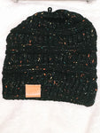 Black Cable Knit Confetti-Beanie