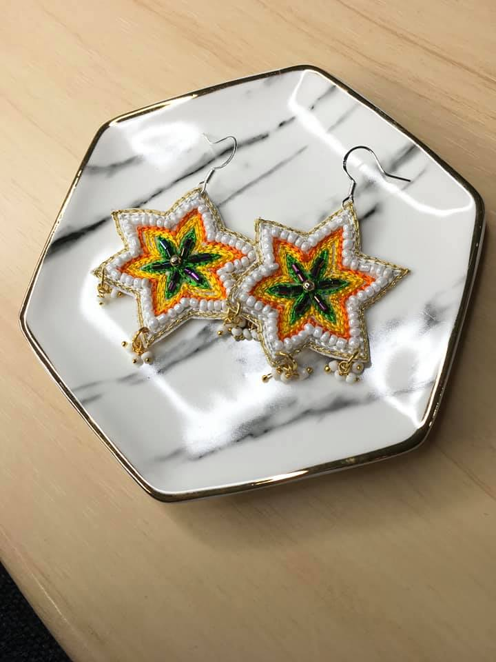 Beaded Star Earrings- Yellow