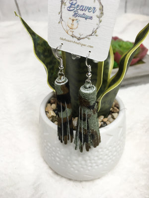 Leather Tassel Earrings-Camo