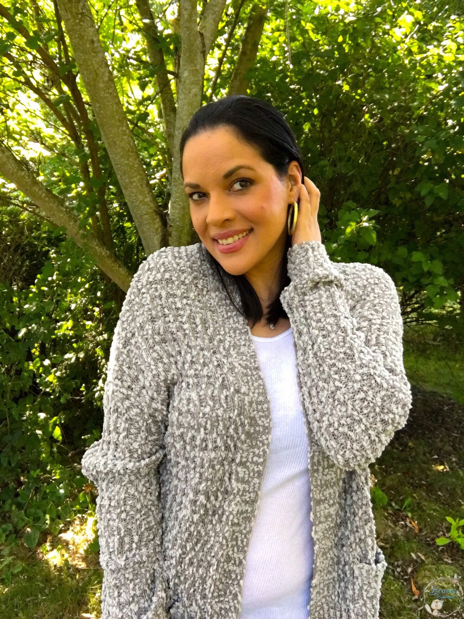 Wrap in Popcorn Cardigan- Grey