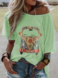 Plus Size Women Short Sleeve Round Neck Vintage Car Floral Casual Tops