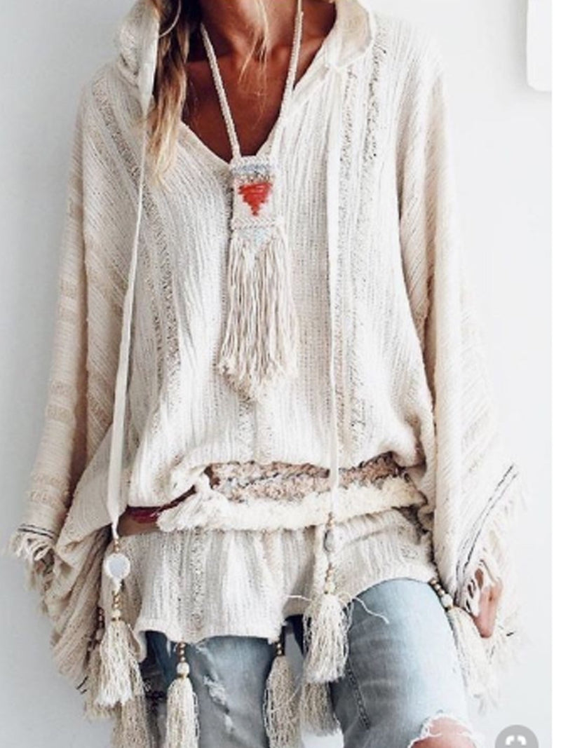 Cutout Long Sleeve Cotton-Blend Tops