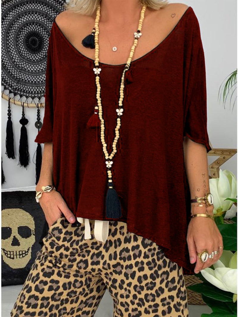 Half Sleeve Solid Casual Round Neck Shirts