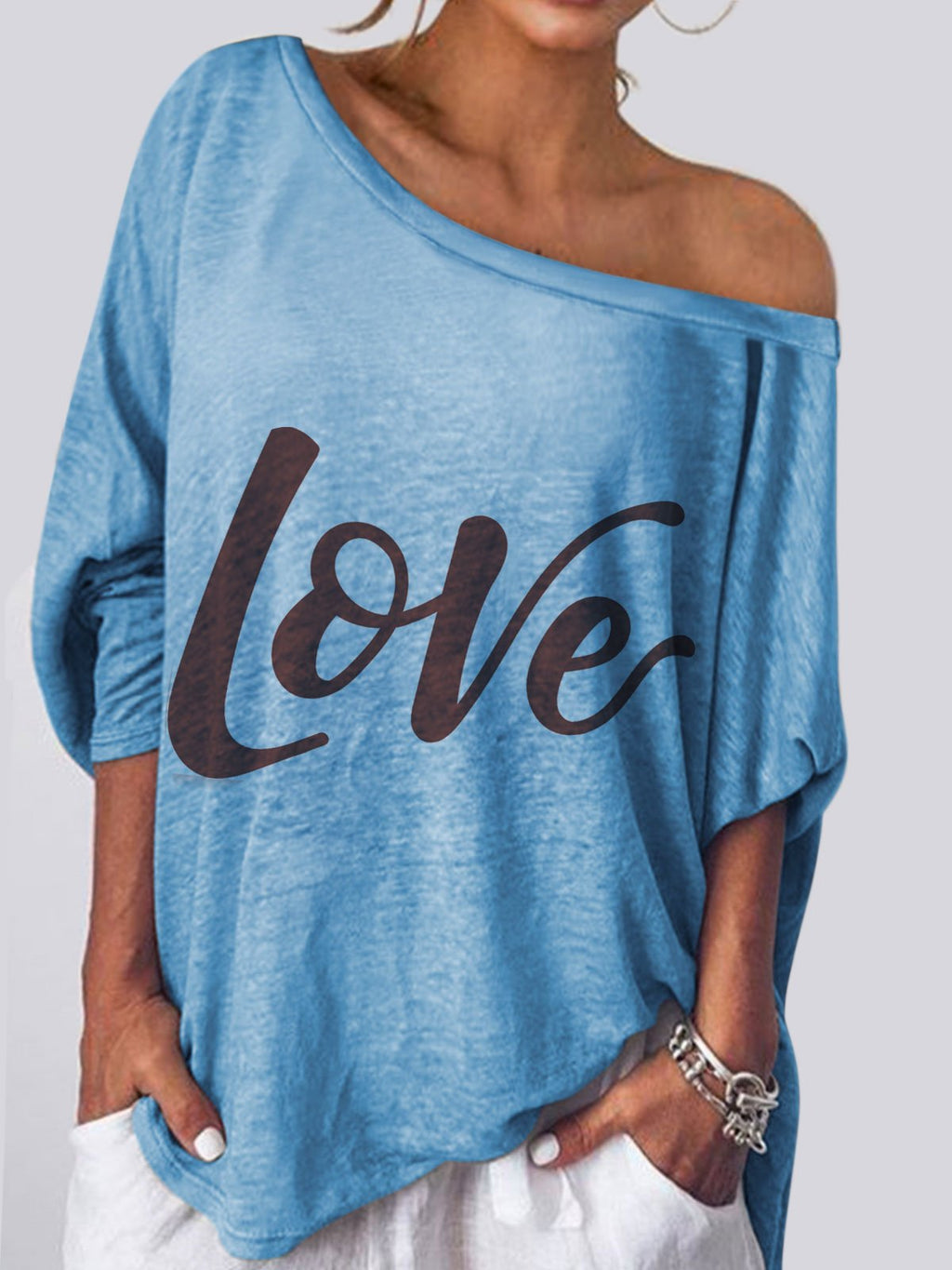 Casual Off Shoulder Long Sleeve Shirts & Tops
