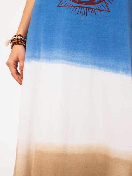 Blue Cotton Boho V Neck Short Sleeve Dresses