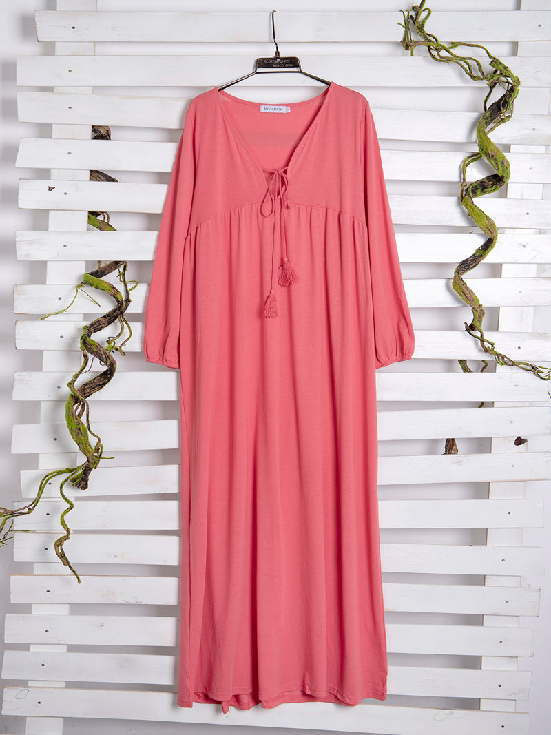 Cotton-Blend Casual Big Hem Dress Solid Dresses