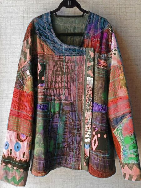 Casual Long Sleeve Cotton-Blend Abstract Blouse & Shirts