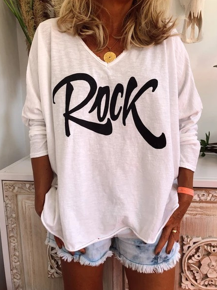 Printed Casual V Neck Long Sleeve Shirts & Tops