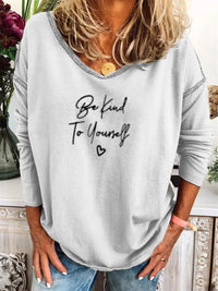 Gray Letter Sweetheart Long Sleeve Shirts & Tops