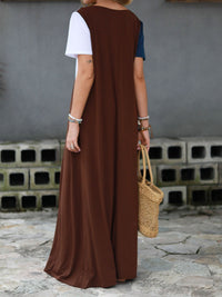 Crew Neck Brown Women  Shift Beach Cotton-Blend Shift Color-block,Leather-paneled Dresses