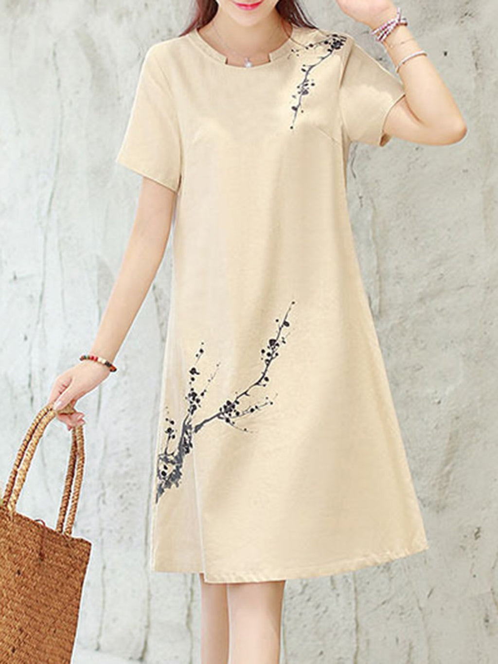 Women  A-line Daily Short Sleeve Cotton Floral-print  Dress