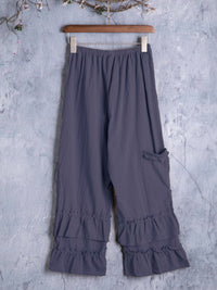 Women Folds Casual Ruffled Pants