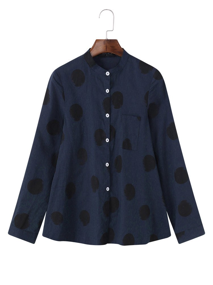 Casual Polka Dot Irregular Long Sleeve Stand Collar Women Blouses