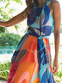 Multicolor Sleeveless Printed Dresses