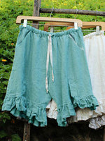 Women Folds Lace Up Elastic Waistband Shorts Stripe Linen Bloomers
