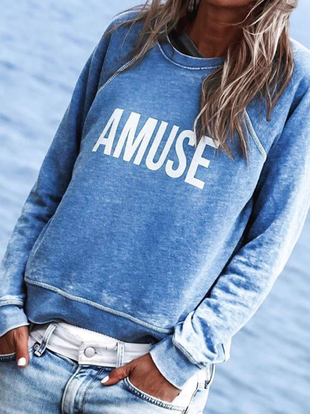 Blue Casual Cotton Letter Crew Neck Shirts & Tops