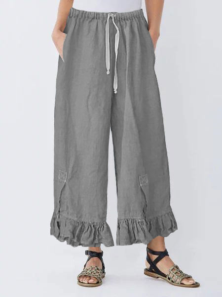 Linen Draw String Ruffle Pants Comfy Linen Elastic Waistband Bloomers