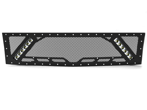 "2007.5-2010 Chevy Silverado 2500/3500, Grille 5 with 2X 10"" LED Lights"