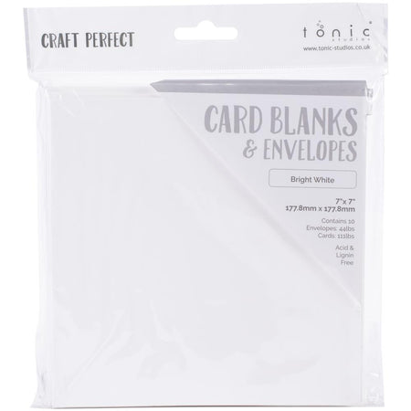 Craft Perfect - 7x7 Card Blanks and Envelopes - Bright White