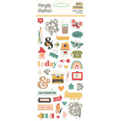 Simple Stories - Hello Today - Puffy Stickers