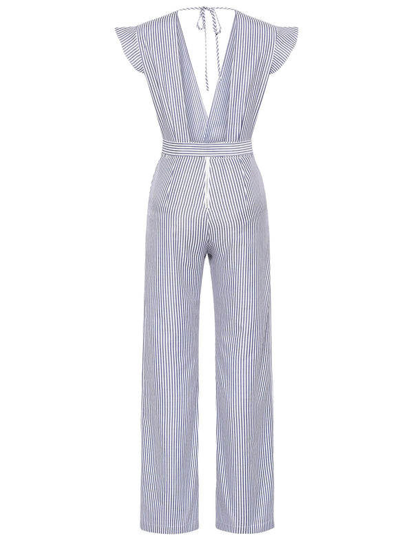 Jumpsuit de mujer  stripe backless ruffles