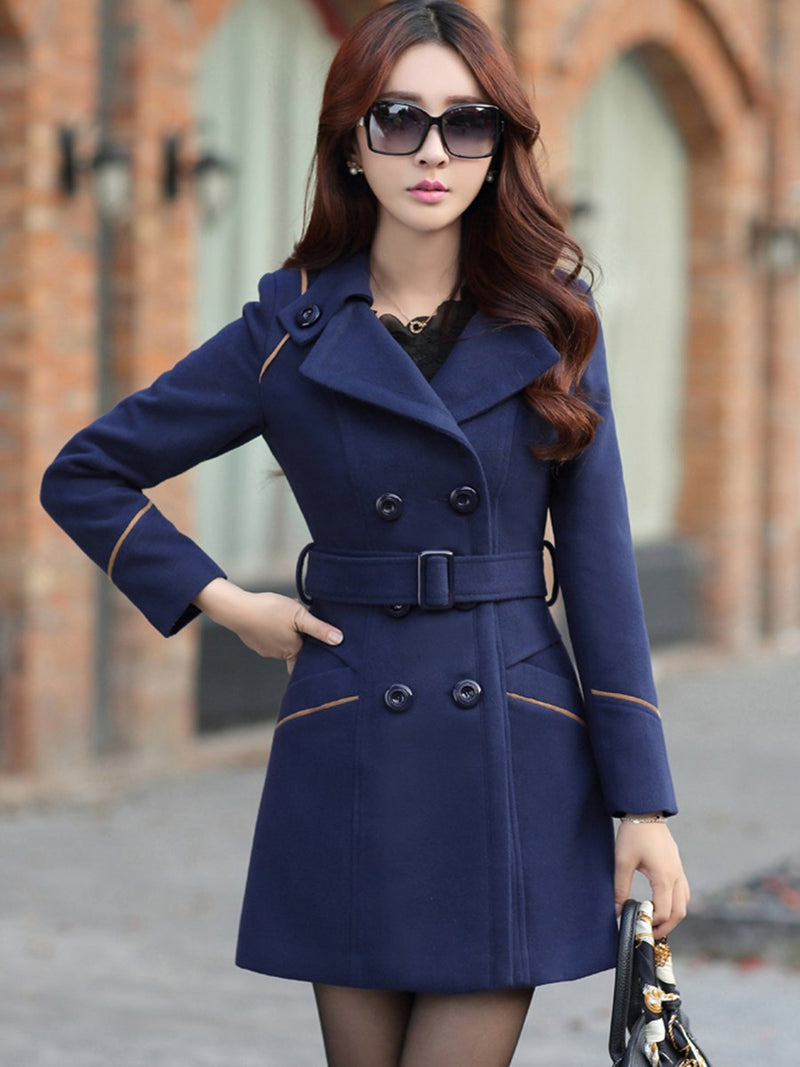 Slim Mid-Length Belt Trench Coat