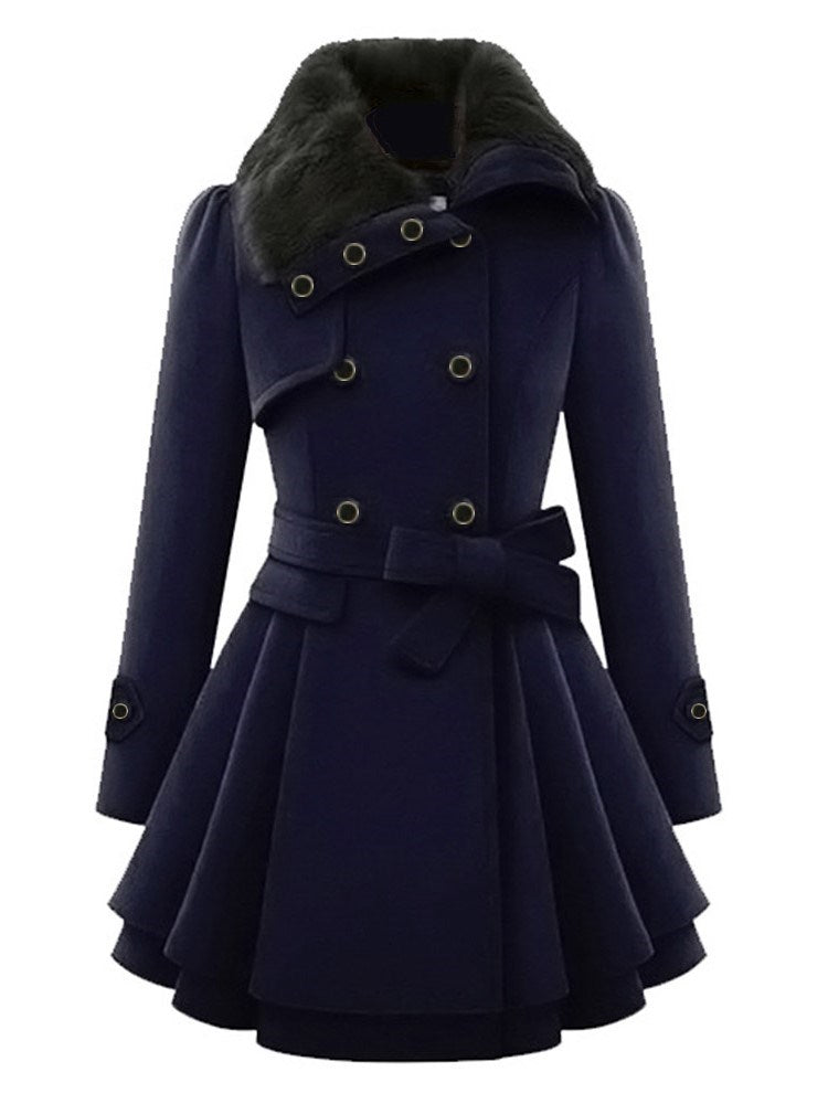 Double-Breasted Plain Mid-Length Belt Coat