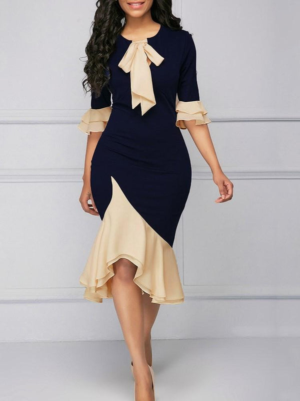 Mermaid Asymmetric Ruffles Bowknot Women's Dress