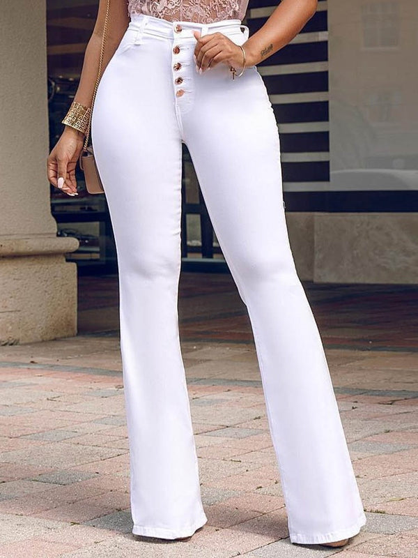 Plain Button Slim High Waist Full Length Casual Pants