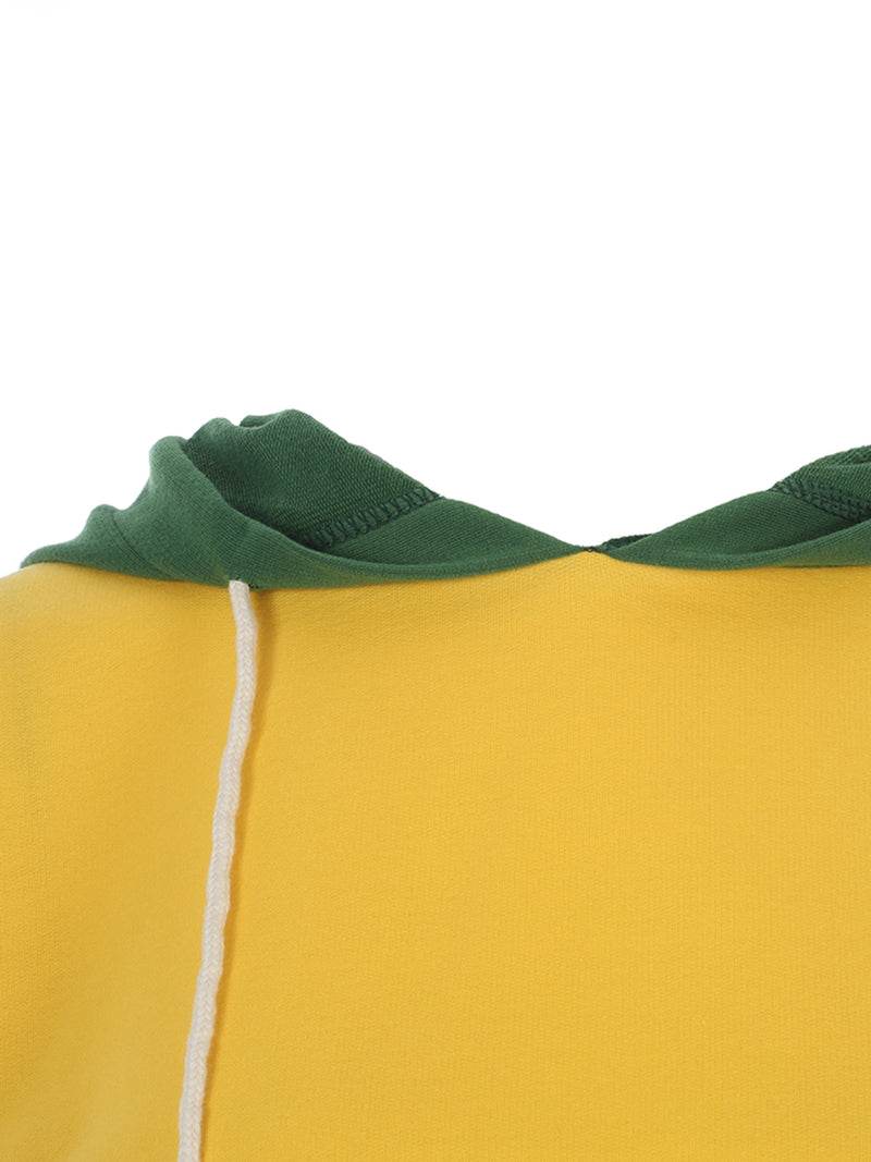Drawstring Color Block Pullover Women's Hoodie