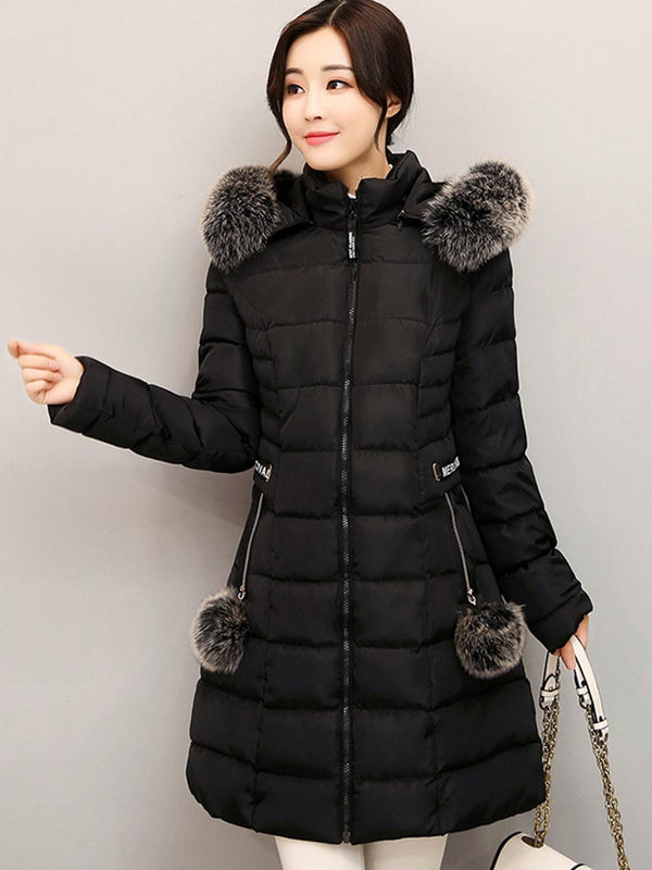 Mid-Length Plain Fur Collar Down Coat