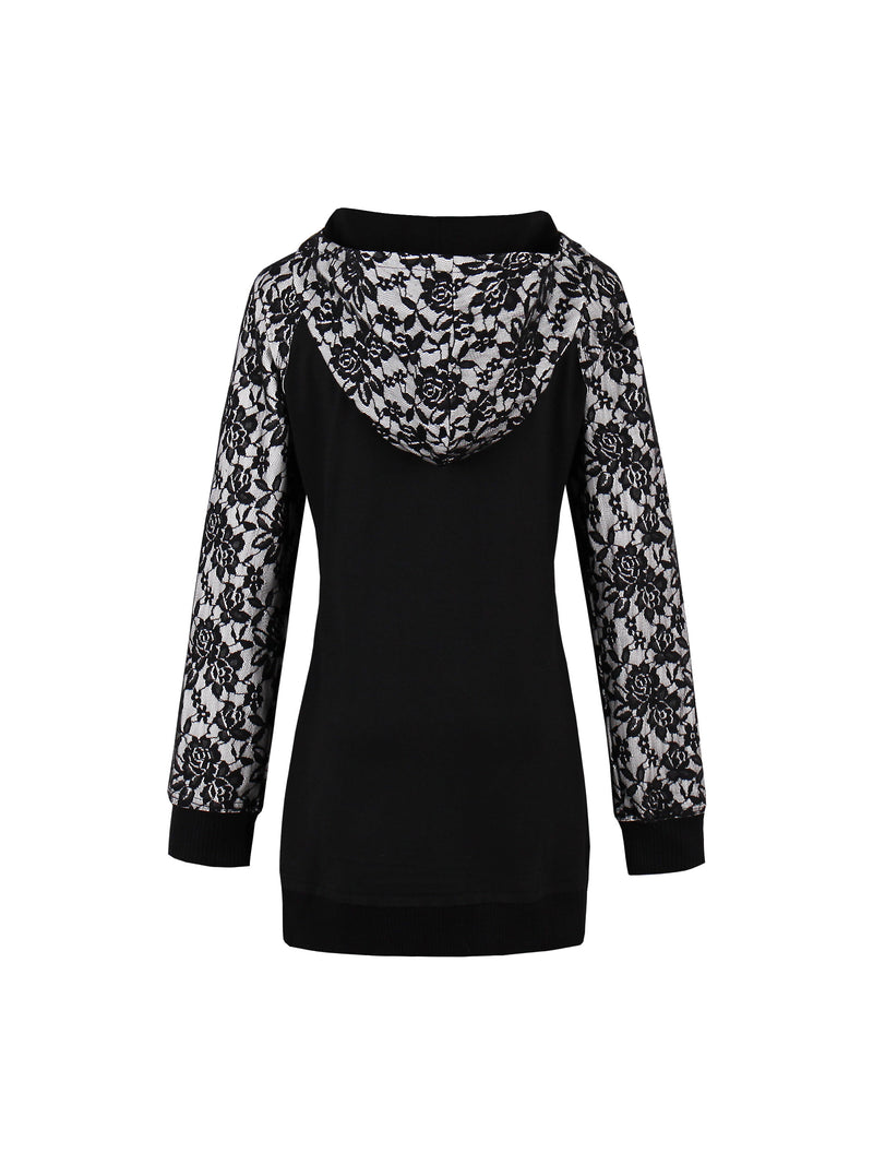 Plus-Size Lace Pullover Cool Hoodie