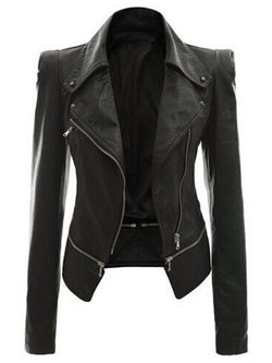 Zipper Lapel PU Slim Jacket