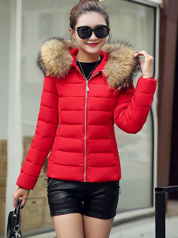 Slim Plain Short Hooded Down Coat