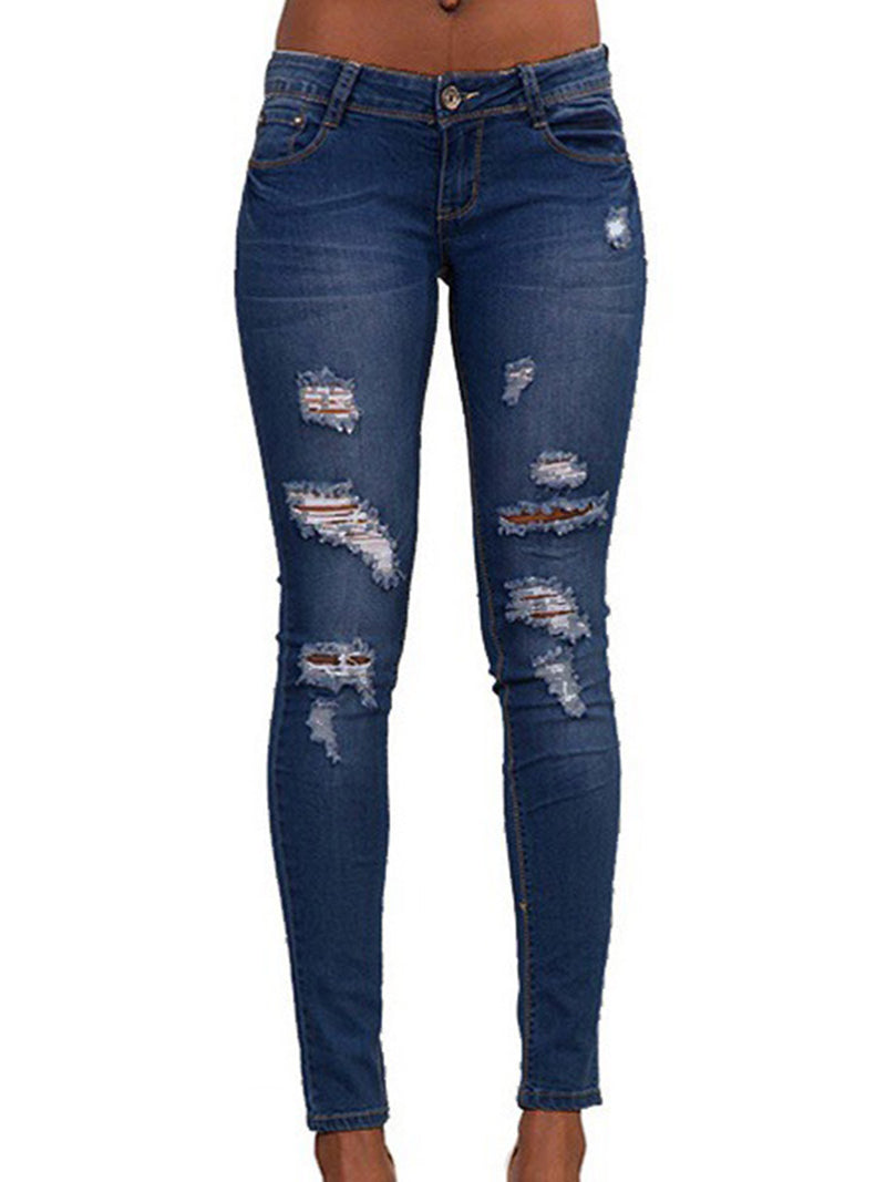 Skinny Denim Worn Women's Ripped Jeans
