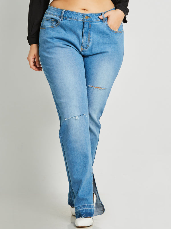 Denim High-Waist Zipper Hole Jeans