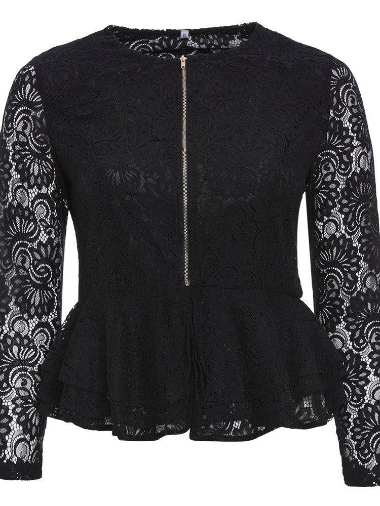 Plus-Size Hollow Lace Ruffles Jacket