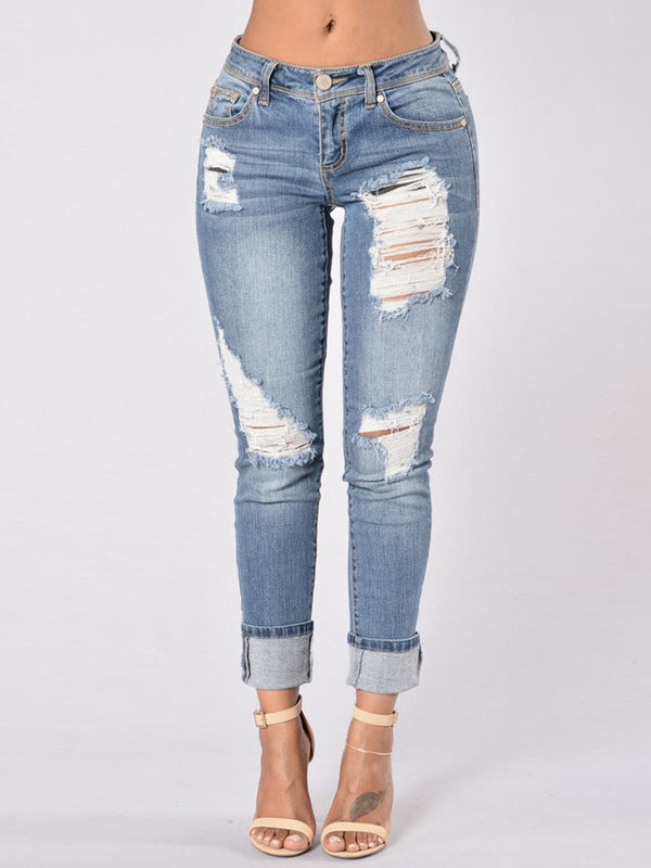 Worn Holes Revers Washable Jeans