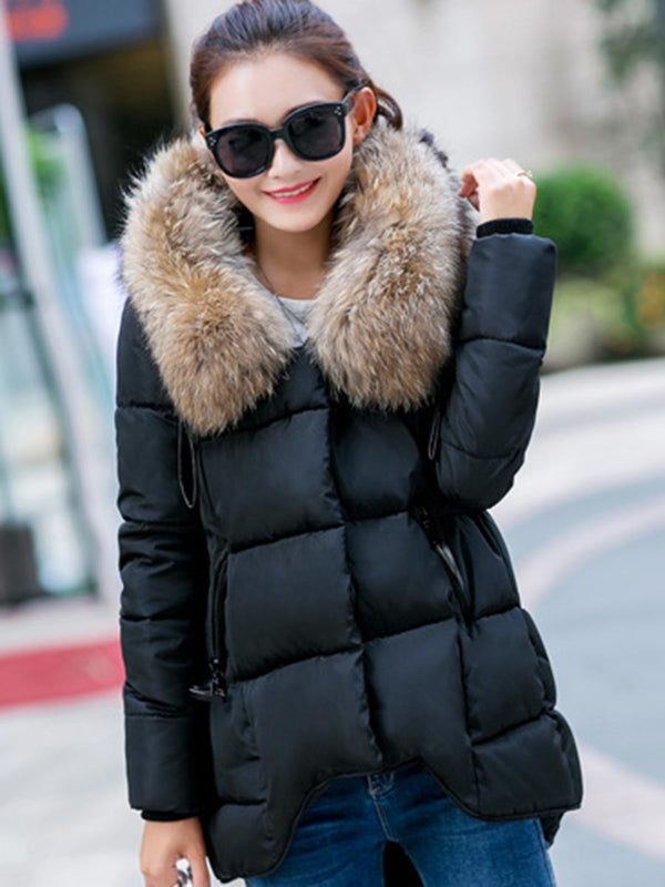 Faux Fur Collar Loose Cotton Coat