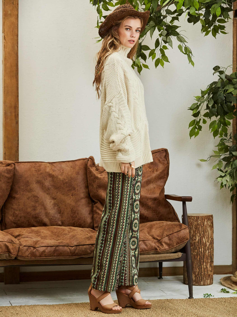 High-Waist Geometric Color Block Wide Legs Pants