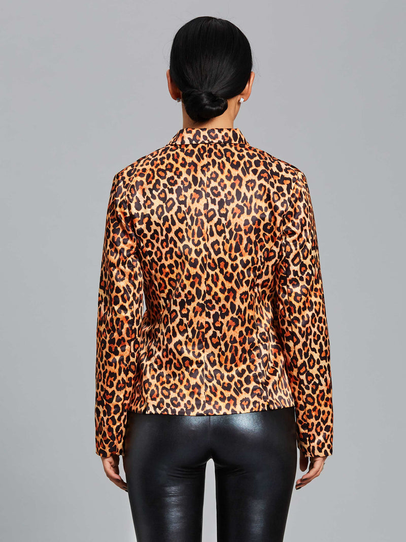 Notched Lapel Leopard One Button Jacket