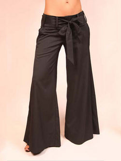 Solid Color Lace-Up Wide Legs Pants