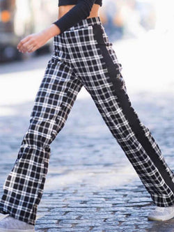 Plaid Wide Leg Women's Pants