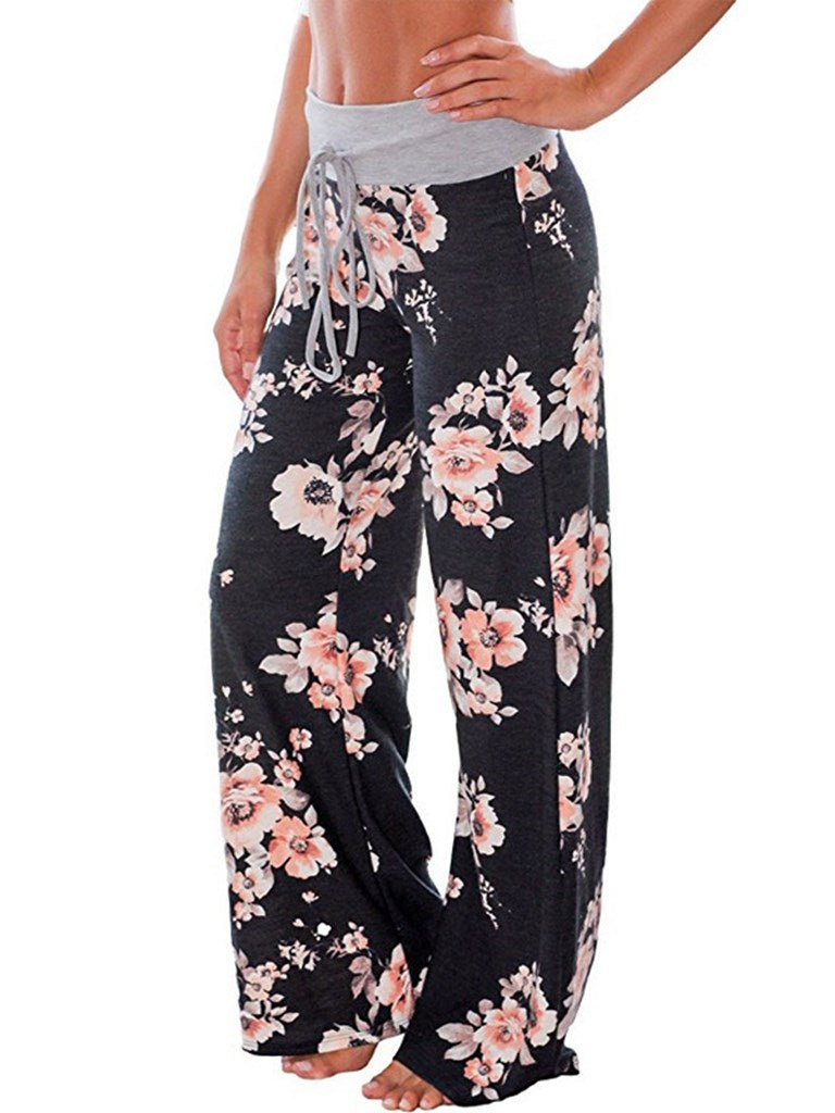 Print Loose Lace-Up Women's Casual Pants