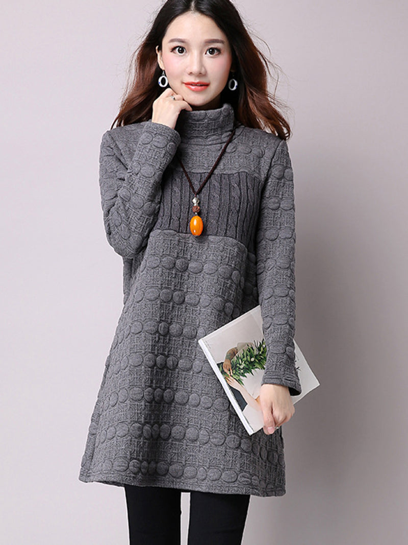 Turtleneck Mid-Length Patchwork Cool Hoodie